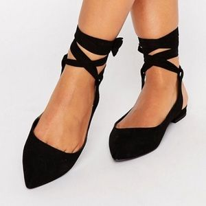 Asos Linguini lace up pointed flats. Size 5UK/ 8US